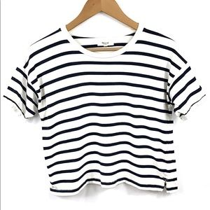 Madewell Striped Crop Top Navy and white size XS